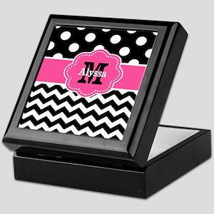 Pink Black Dots Damask Monogram Keepsake Box