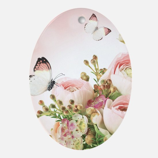 Flowers and Butterflies Ornament (Oval)