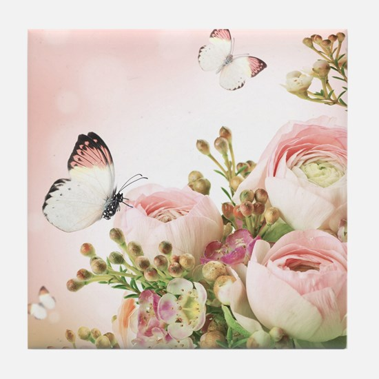 Flowers and Butterflies Tile Coaster