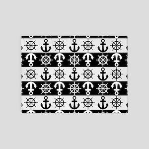 BW Nautical Anchors Wheels 5'x7'Area Rug
