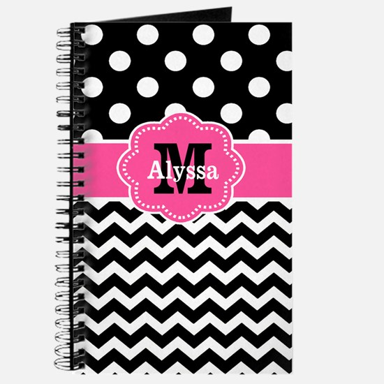 Pink Black Dots Chevron Personalized Journal