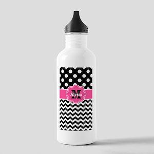 Pink Black Dots Chevron Personalized Water Bottle