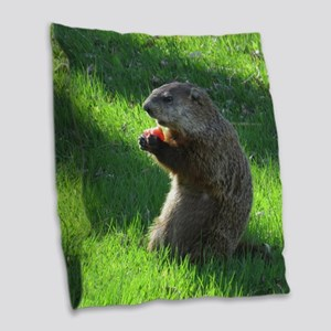 Groundhog Burlap Throw Pillow