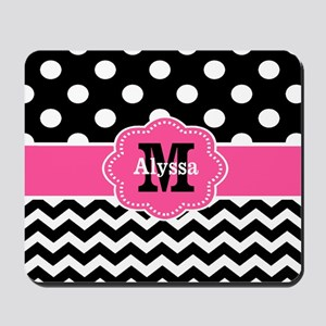 Pink Black Dots Chevron Personalized Mousepad