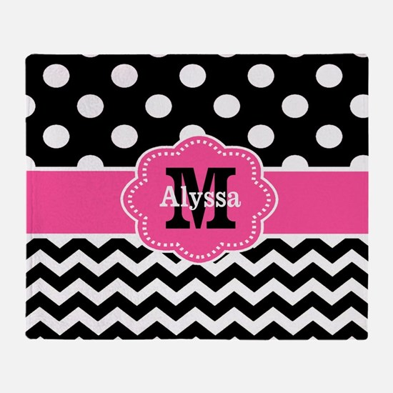 Pink Black Dots Chevron Personalized Throw Blanket