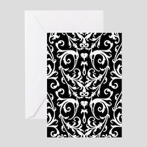 Black And White Damask Pattern Greeting Cards