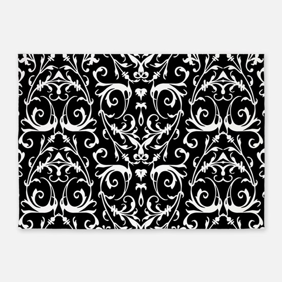 Black And White Damask Pattern 5'x7'Area Rug