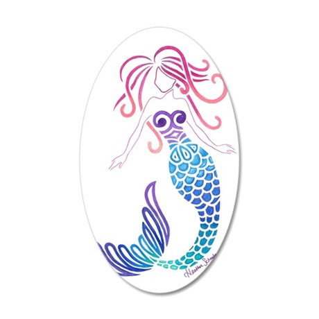 Tribal Mermaid 20x12 Oval Wall Decal