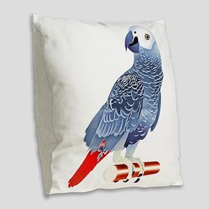 African Grey Parrot copy Burlap Throw Pillow
