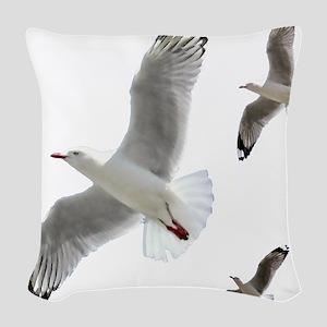 3 Gulls in Flight copy Woven Throw Pillow