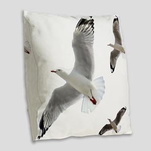 3 Gulls in Flight copy Burlap Throw Pillow