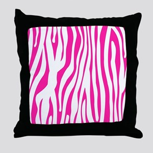 Hot Pink Zebra stripes Throw Pillow