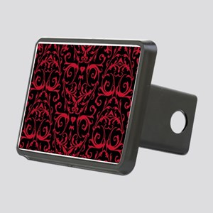 Black And Red Damask Pattern Hitch Cover