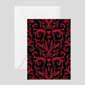 Black And Red Damask Pattern Greeting Cards
