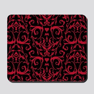 Black And Red Damask Pattern Mousepad