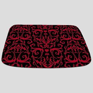 Black And Red Damask Pattern Bathmat