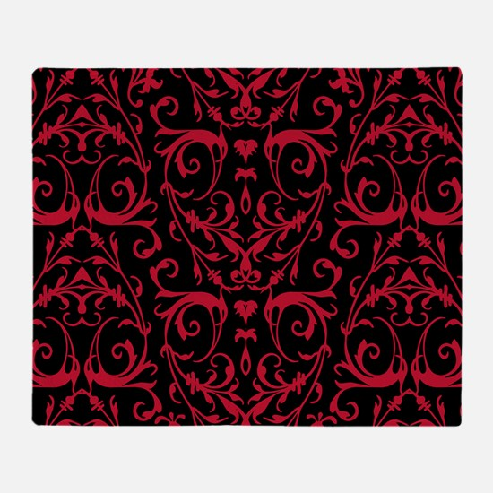 Black And Red Damask Pattern Throw Blanket