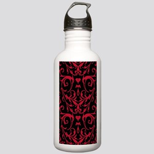 Black And Red Damask Pattern Water Bottle