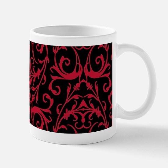 Black And Red Damask Pattern Mugs