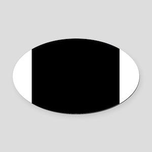 Black solid color Oval Car Magnet