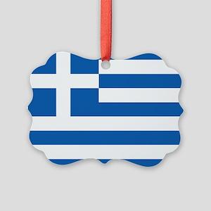 Greece Flag Picture Ornament