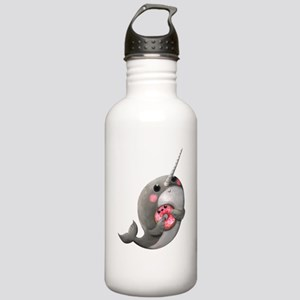 Cute Narwhal with Donut Botella de agua