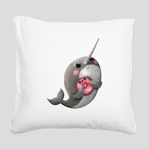 Cute Narwhal with Donut Square Canvas Pillow