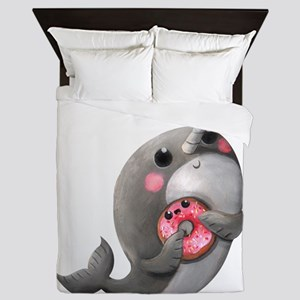 Cute Narwhal with Donut Queen Duvet