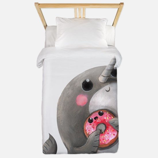 Cute Narwhal with Donut Twin Duvet