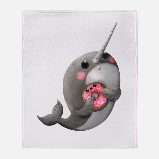 Cute Narwhal with Donut Throw Blanket
