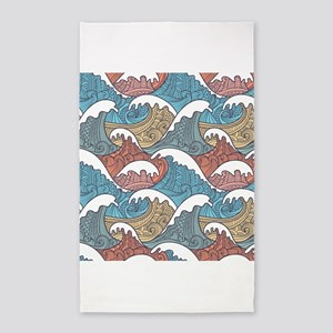 Colorful Waves 3'x5' Area Rug