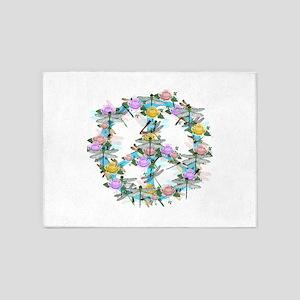 Dragonfly Peace Sign 5'x7'Area Rug