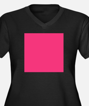 Hot Pink Solid Color Plus Size T-Shirt
