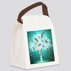 Dragonfly Glow Tree Canvas Lunch Bag