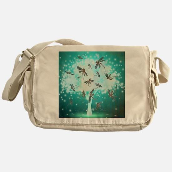 Dragonfly Glow Tree Messenger Bag