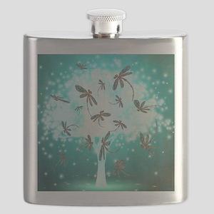 Dragonfly Glow Tree Flask