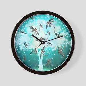 Dragonfly Glow Tree Wall Clock