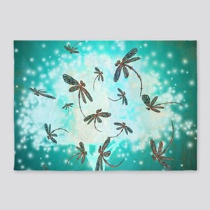 Dragonfly Glow Tree 5'x7'Area Rug