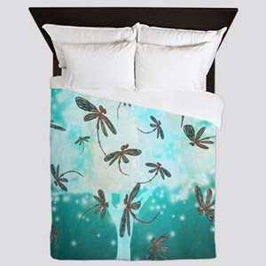 Dragonfly Glow Tree Queen Duvet