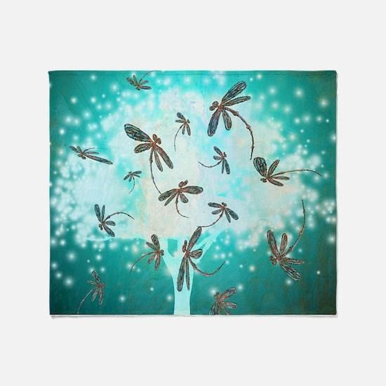 Dragonfly Glow Tree Throw Blanket