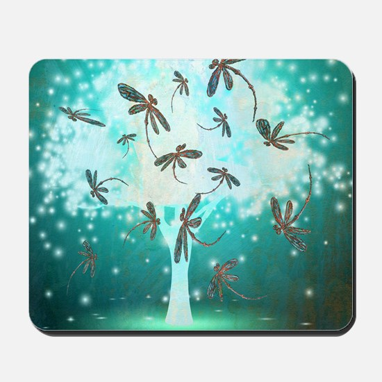 Dragonfly Glow Tree Mousepad