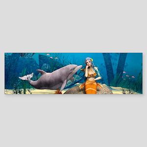 Sad Mermaid and Dolphin Bumper Sticker