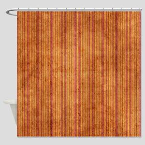 Orange And Purple Grunge Stripes Shower Curtain