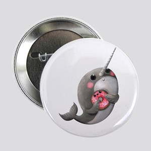 "Cute Narwhal with Donut 2.25"" Button"