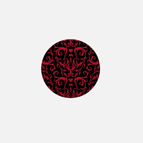 Black And Red Damask Pattern Mini Button