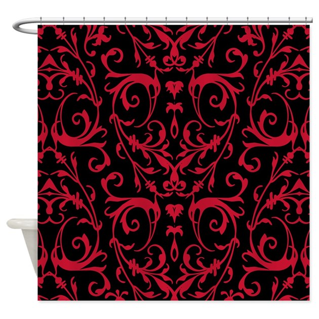 Cafe Au Lait Bedroom With Damask Wallpaper: Black And Red Damask Pattern Shower Curtain By Artandornament