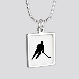 Hockey player Silver Square Necklace
