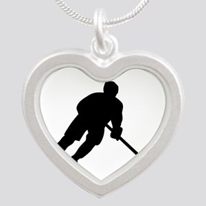 Hockey player Silver Heart Necklace