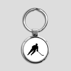 Hockey player Round Keychain