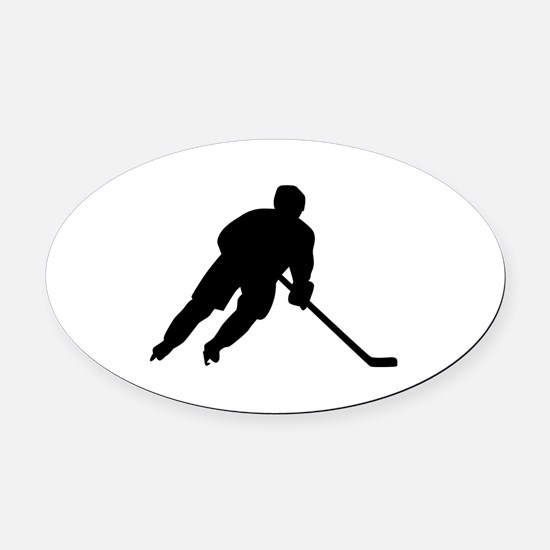 Hockey player Oval Car Magnet